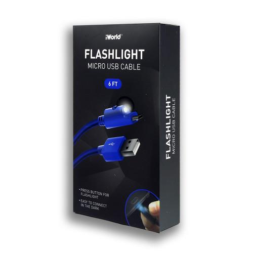 iWorld Flashlight Micro USB Cable Blue 6Ft