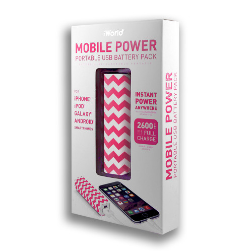 iWorld Mobile Power Portable USB Battery Pack 2600mah Wave Design Pink