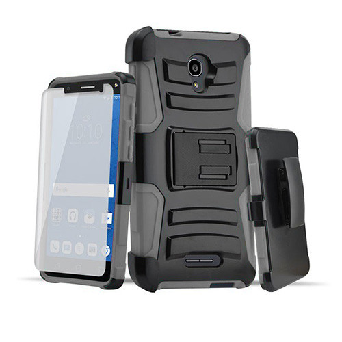 Rugged Hybrid Case with Kickstand and Holster Combo for LG K20 Gray-Black