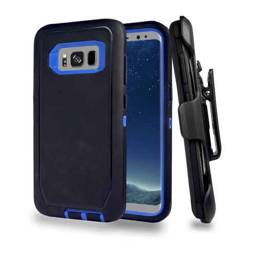 Sports Guard Case with Holster Combo for Samsung Galaxy S8 Black-Blue
