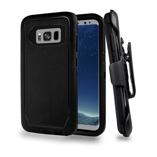 Sports Guard Case with Holster Combo for Samsung Galaxy S8 Black-Black