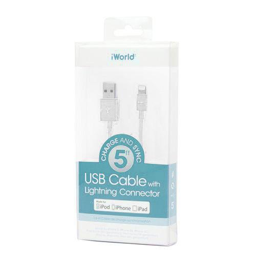 iWorld USB Lighting Cable MFI 5ft White