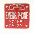 "Ceeco 371-024, Replacement Braille ""EMERGENCY"" plate"