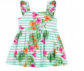 Stripes and Floral Little Girl Dress
