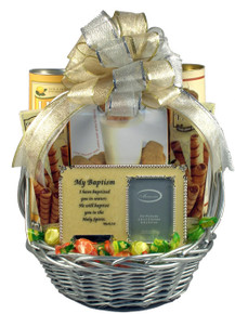 Celebrate a beautiful event with this unique baptism gift basket and frame to commemorate the event.