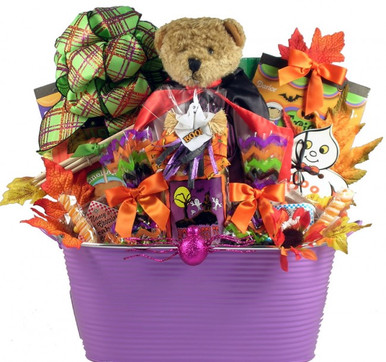 Gobbles of goodies halloween gift basket baskets by bobbie know someone who loves halloween this spirited halloween gift basket is sure to thrill anyone negle Gallery