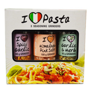 Pasta Mini Collection Set 3 Pack with Grinder Spices -(Garlic and Herb, Himalayan Pink Salt, Spicy Garlic) - CAPE