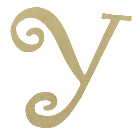 Wood letter, natural, mdf, letter Y, can be painted, put in wreaths, hung on christmas trees, walls, curly letter