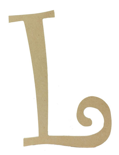 Wood letter, natural, mdf, letter L, can be painted, put in wreaths, hung on christmas trees, walls, curly letter