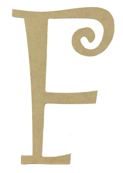 Wood letter, natural, mdf, letter F, can be painted, put in wreaths, hung on christmas trees, walls, curly letter