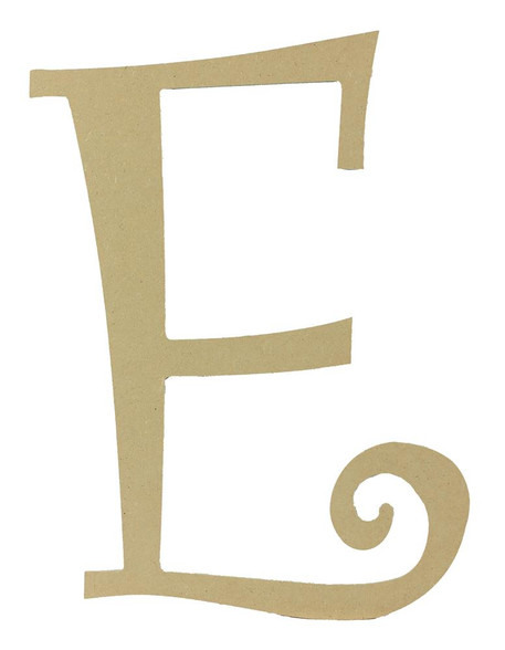 Wood letter, natural, mdf, letter E, can be painted, put in wreaths, hung on christmas trees, walls, curly letter