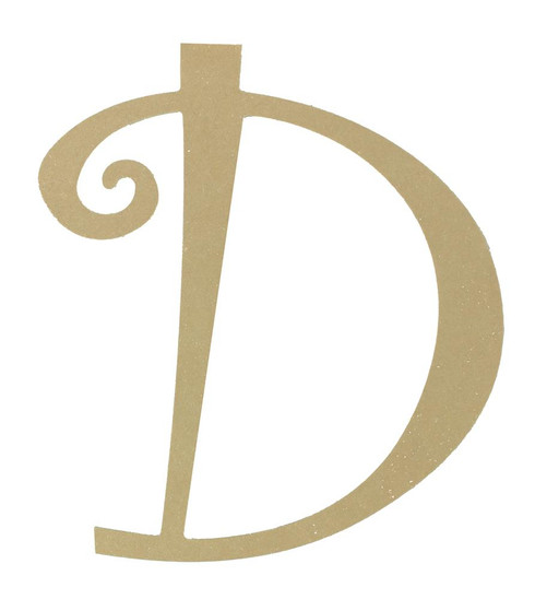 Wood letter, natural, mdf, letter D, can be painted, put in wreaths, hung on christmas trees, walls, curly letter