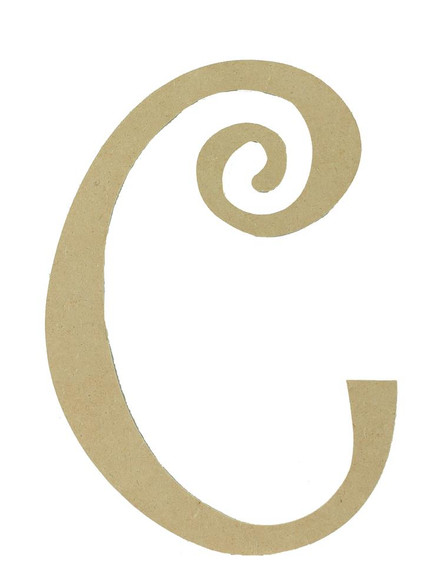 Wood letter, natural, mdf, letter C, can be painted, put in wreaths, hung on christmas trees, walls, curly letter