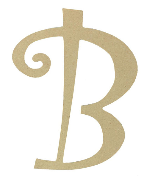 Wood letter, natural, mdf, letter B, can be painted, put in wreaths, hung on christmas trees, walls, curly letter