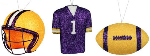 3 Assorted Football/Helmet/Jersey Ornament Can be used on Wreaths, Christmas trees, mailbox swags Yellow/Purple/White