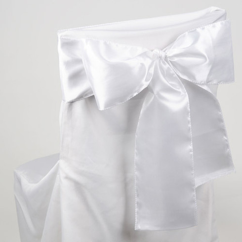 White satin chair sashes for making bows on chairs. Can be used for weddings, birthday parties, events, or just for decorating. These sashes are 6 inches x 106 inches inch and come 10 to a pack.