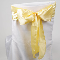 Baby Maize satin chair sashes for making bows on chairs. Can be used for weddings, birthday parties, events, or just for decorating. These sashes are 6 inches x 106 inches inch and come 10 to a pack.