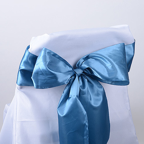 Antique Blue satin chair sashes for making bows on chairs. Can be used for weddings, birthday parties, events, or just for decorating. These sashes are 6 inches x 106 inches inch and come 10 to a pack.