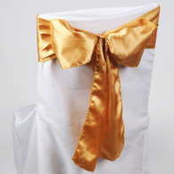 Gold satin chair sashes for making bows on chairs. Can be used for weddings, birthday parties, events, or just for decorating. These sashes are 6 inches x 106 inches inch and come 10 to a pack.