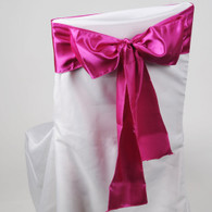 Fuchsia satin chair sashes for making bows on chairs. Can be used for weddings, birthday parties, events, or just for decorating. These sashes are 6 inches x 106 inches inch and come 10 to a pack.