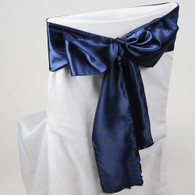 Navy Blue satin chair sashes for making bows on chairs. Can be used for weddings, birthday parties, events, or just for decorating. These sashes are 6 inches x 106 inches inch and come 10 to a pack.