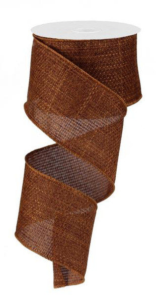 """2.5""""X10yd 3 in 1 Royal Burlap ribbon in rust. Great for making bows, putting in wreaths, and on Christmas trees"""