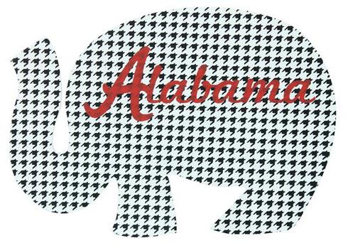 "11""L Elephant W""Alabama"" Print-Houndstooth/Crimson"