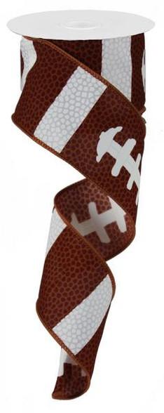 "2.5"" X 10 YD Football Laces Ribbon"