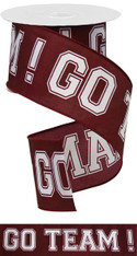 "2.5"" X 10YD GO TEAM WHITE/BURGUNDY"