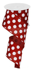"2.5"" X 10YD MEDIUM POLKA DOTS-CRIMSON RED/WHITE"