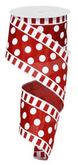 "2.5"" X10yd DOTS AND STRIPES ON SATIN RIBBON-CRIMSON RED/WHITE"