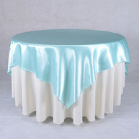 60 x 60 Satin Table Overlays - Aqua Blue