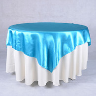 60 x 60 Satin Table Overlays-Turquoise