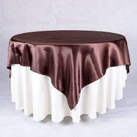 60 x 60 Satin Table Overlays- Chocolate Brown