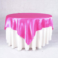 60 x 60 Satin Table Overlays-Fushsia