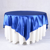 60 x 60 Satin Table Overlays- Navy Blue