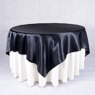 60 x 60 Satin Table Overlays- Black