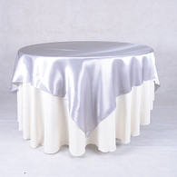 60 x 60 Satin Table Overlays- Silver