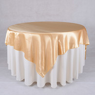 60 x 60 Satin Table Overlays- Gold