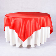 60 x 60 Satin Table Overlays-Red