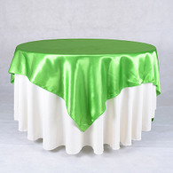 60 x 60 Satin Table Overlays-Apple Green