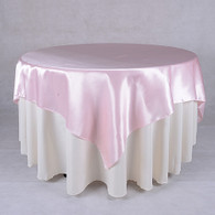 60 x 60 Satin Table Overlays- Light Pink