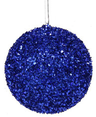 100MM Glitter Ball Ornament-Royal Blue