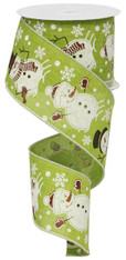 "2.5""X10YD Snowman Ribbon-Green"