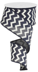"2.5""X10YD Small Chevron/Royal - Navy/White"