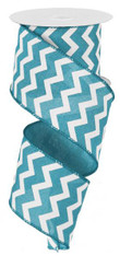 "2.5""X10YD Small Chevron/Royal - Turquoise/White"