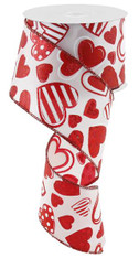 "2.5""X10YD Patterned Hearts - White/Red"