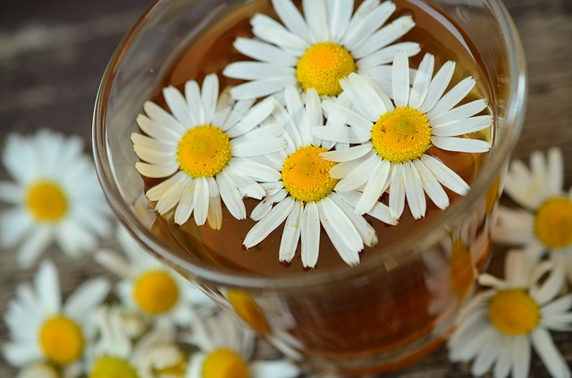Photo of chamomile tea with flowers
