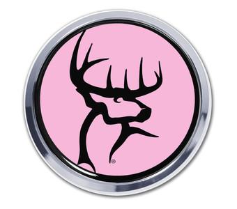 Buck Commander Circle Chrome Auto Emblem, Pink