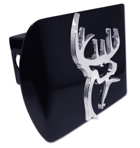 Buck Commander Chrome Buck on Black Hitch Cover